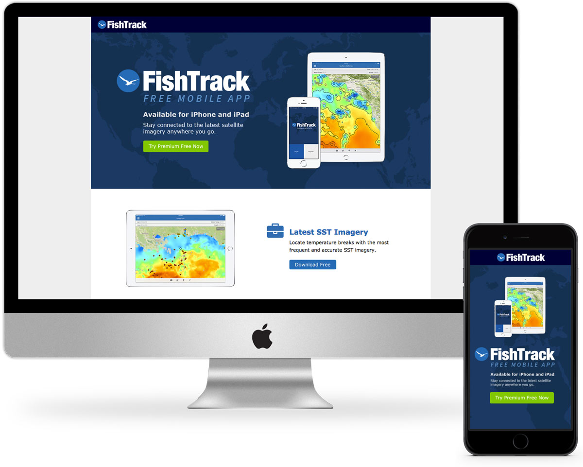 Fishtrack Mobile App Landing Page